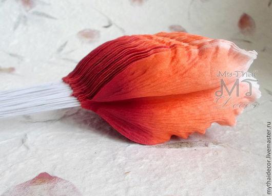 Лепестки лилии бело-оранжевые большие My Thai Материалы для флористики из Таиланда