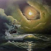 Картины и панно handmade. Livemaster - original item The picture with the sea a Night wanderer oil painting. Handmade.