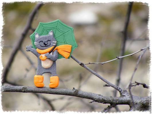 """Броши ручной работы. Ярмарка Мастеров - ручная работа. Купить """"Весенний дождь""""(брошь). Handmade. Комбинированный, Кошки, котик ручной работы"""