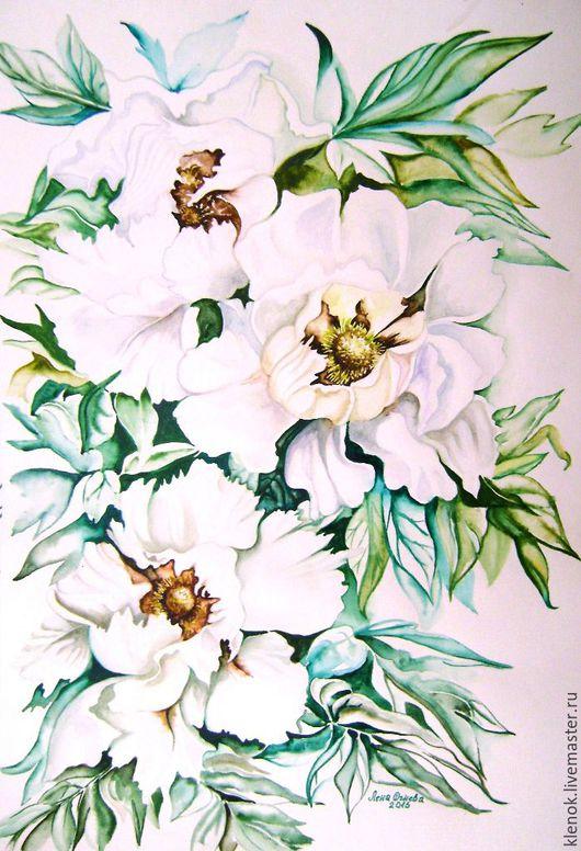 """Картины цветов ручной работы. Ярмарка Мастеров - ручная работа. Купить Акварель """"Белые цветы"""". Handmade. Белый, пионы акварелью"""