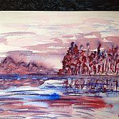 Картины и панно handmade. Livemaster - original item Crimson landscape. Watercolor.. Handmade.