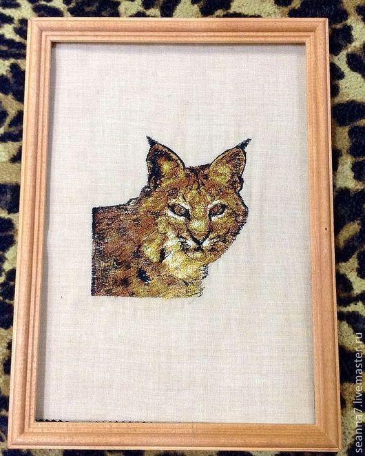 """Животные ручной работы. Ярмарка Мастеров - ручная работа. Купить Картина, картинка, панно вышитое """"Рысь"""". Handmade. Картина"""