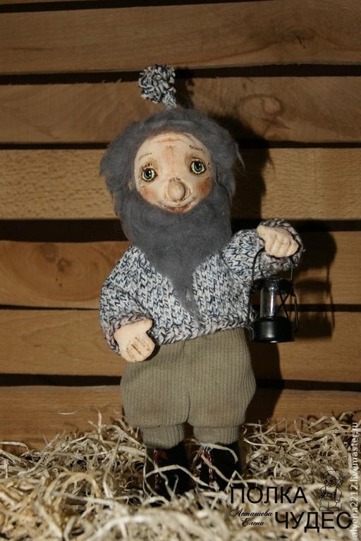 Коллекционные куклы ручной работы. Ярмарка Мастеров - ручная работа. Купить Гном с фонариком. Handmade. Разноцветный, гном, проволочный каркас