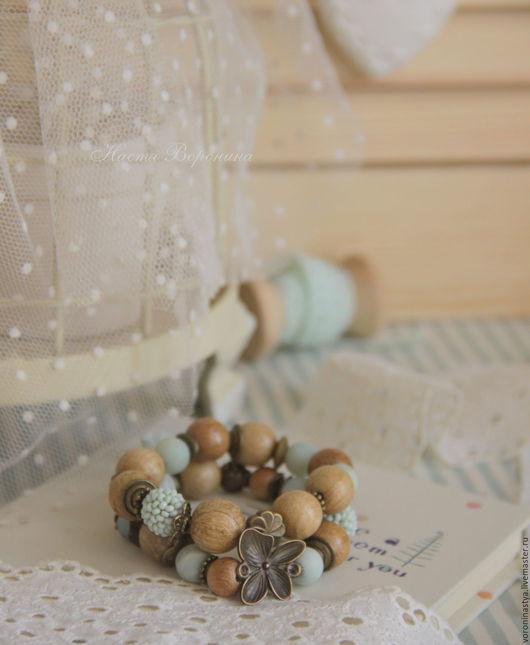 Браслеты ручной работы. Ярмарка Мастеров - ручная работа. Купить Браслет Мята. Handmade. Комбинированный, браслет из дерева, металлическая фурнитура