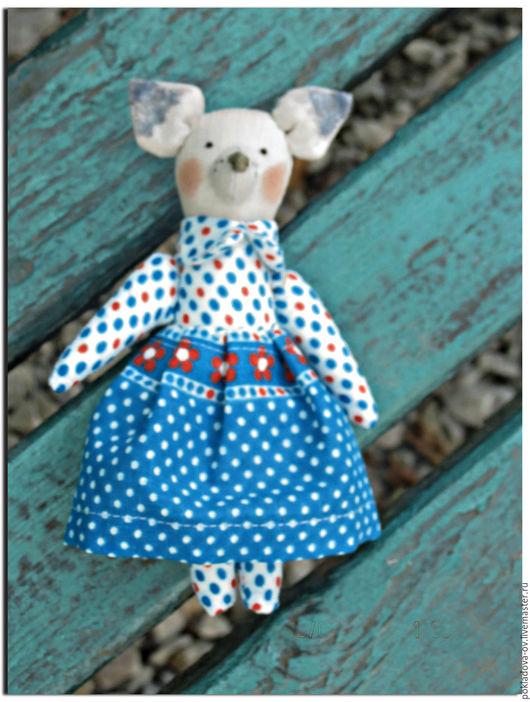 Куклы Тильды ручной работы. Ярмарка Мастеров - ручная работа. Купить Мини-игрушка в стиле Тильда Собачка. Handmade. Голубой