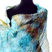 Аксессуары ручной работы. Ярмарка Мастеров - ручная работа Шарф палантин женский шелковый голубой с коричневым подарок на 8 марта. Handmade.
