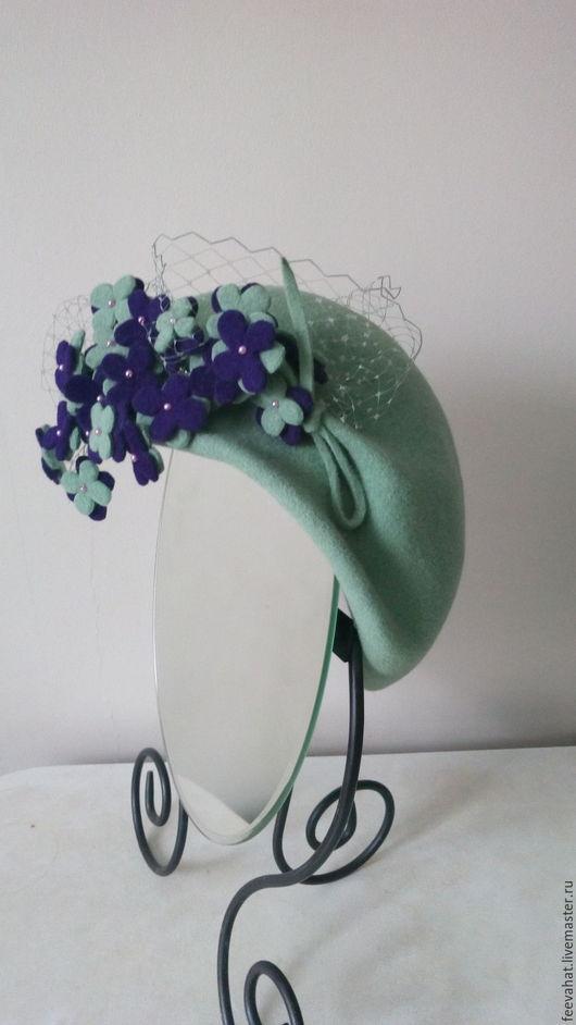 """Шляпы ручной работы. Ярмарка Мастеров - ручная работа. Купить Шляпка винтажный стиль """"весенние цветы"""". Handmade. Мятный, фиалки"""