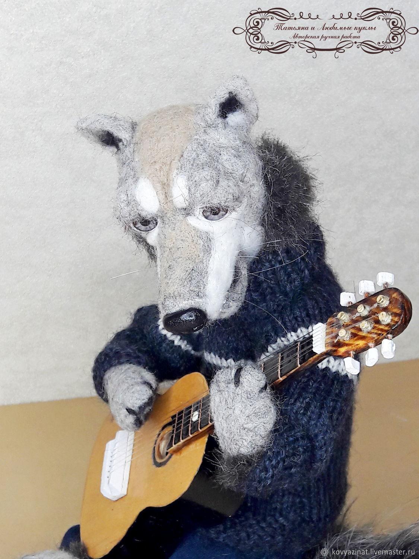 Волк романтик, Войлочная игрушка, Лесной,  Фото №1