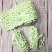 Работы для детей, handmade. Livemaster - original item Winter set, scarf and mittens. Handmade.