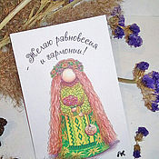 Открытки handmade. Livemaster - original item Postcard with doll Overcoming-grass