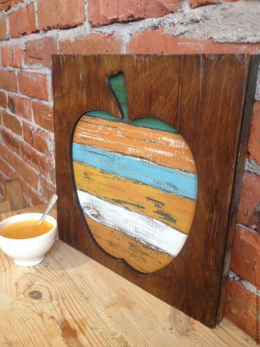 """Интерьерные слова ручной работы. Ярмарка Мастеров - ручная работа. Купить картина панно """"Яблоко, груша"""". Handmade. Рыжий"""