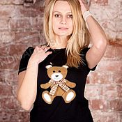 Одежда handmade. Livemaster - original item T-shirt with the author`s application of Russian bear. Handmade.