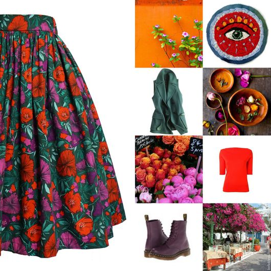 Юбки ручной работы. Ярмарка Мастеров - ручная работа. Купить Юбка пышная Red poppies 60 см с карманами. Handmade.