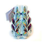 Свечи ручной работы. Ярмарка Мастеров - ручная работа Резная свеча Радуга на белом (арт.202). Handmade.