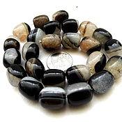Материалы для творчества ручной работы. Ярмарка Мастеров - ручная работа Агат 25 камней набор бусины бочонок черно-белый 15 мм. Handmade.