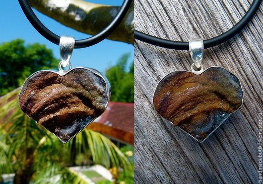 Кулон Сердце с агатовой друзой с кристаллами из серебра 925