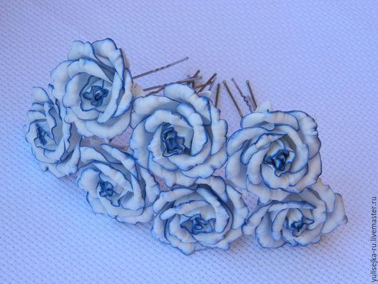 Свадебные украшения ручной работы. Ярмарка Мастеров - ручная работа. Купить шпильки для волос. из фоамирана. Handmade. Синий, синие розы