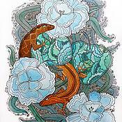 """Картины и панно ручной работы. Ярмарка Мастеров - ручная работа Картина акварелью """"Ящерицы"""". Handmade."""