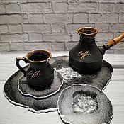Элементы интерьера ручной работы. Ярмарка Мастеров - ручная работа Набор посуды из эпоксидной смолы BLACK. Handmade.