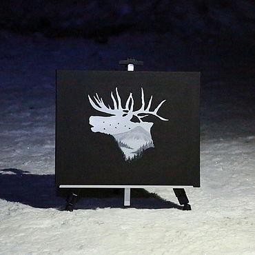 """Картины и панно ручной работы. Ярмарка Мастеров - ручная работа Картина: """"Северный олень"""". Handmade."""