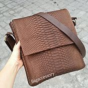 Сумки и аксессуары handmade. Livemaster - original item Python genuine leather messenger bag. Handmade.