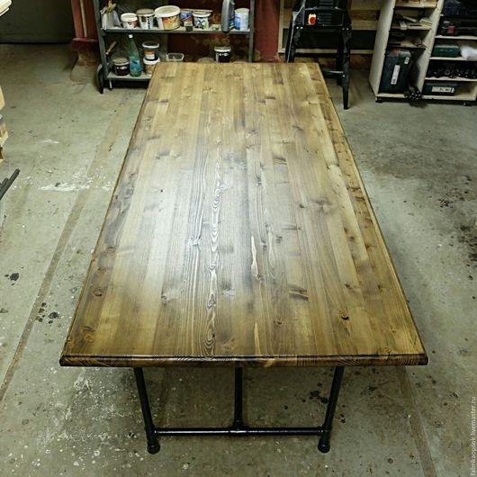 Мебель ручной работы. Ярмарка Мастеров - ручная работа. Купить Обеденный стол из труб и дерева. Handmade. Коричневый, масло, трубы