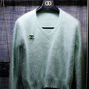 Одежда handmade. Livemaster - original item Pullover from a yarn mink ( mint ). Handmade.