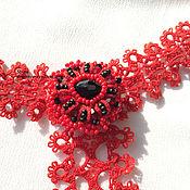 Аксессуары handmade. Livemaster - original item Tatting lace tie with removable brooch. Handmade.