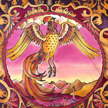 "Аксессуары handmade. Livemaster - original item Hand painted silk shawl ""Golden Rooster"", silk satin 57Х57 cm. Handmade."