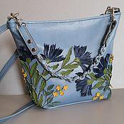 Сумки и аксессуары handmade. Livemaster - original item Bag leather Women`s Crossbody Bag Hobo small Cornflowers Blue. Handmade.