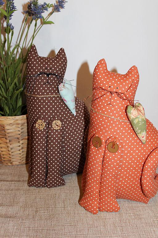 Куклы Тильды ручной работы. Ярмарка Мастеров - ручная работа. Купить Кошки   в горошки.. Handmade. Кот, коты, тильда, подарок