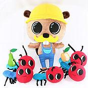 Куклы и игрушки ручной работы. Ярмарка Мастеров - ручная работа Бобер строитель с помощниками муравьями. Handmade.