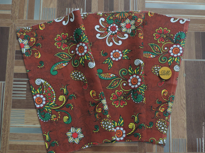 ткань лен хлопок Дивные цветы бордо, Ткани, Кострома,  Фото №1