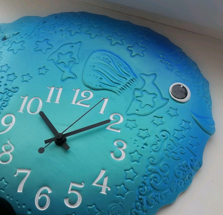 """Часы из белой глины """"Рыбка-Прекрасная""""/ультрамарин с бирюзой, Часы, Саратов,  Фото №1"""