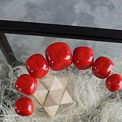 Материалы для творчества handmade. Livemaster - original item Set of hollow beads 7pcs Red cubic. Handmade.