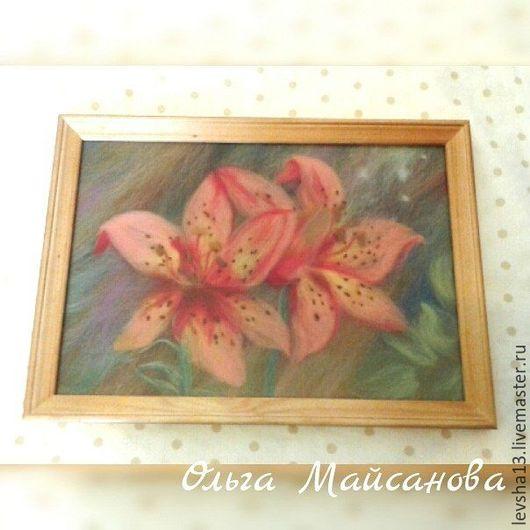 Картины цветов ручной работы. Ярмарка Мастеров - ручная работа. Купить Картина из  шерсти Лилии. Handmade. Розовый, лилии