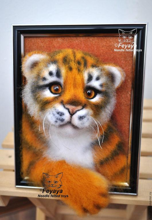 Игрушки животные, ручной работы. Ярмарка Мастеров - ручная работа. Купить Тиграша в рамке. Handmade. Комбинированный, подарок, рама пластик