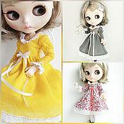 Куклы и игрушки handmade. Livemaster - original item Dresses for Blythe.3 types. Yellow. floral. olive. Handmade.