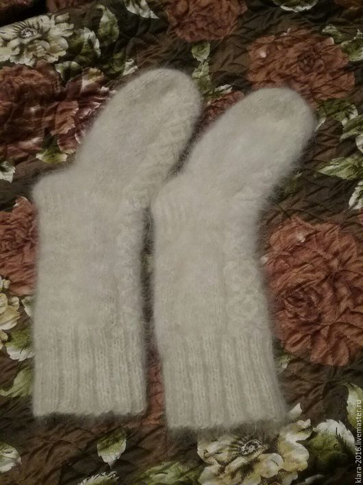 Носки, Чулки ручной работы. Ярмарка Мастеров - ручная работа. Купить носки из собачьей шерсти. Handmade. Белый, вязание спицами