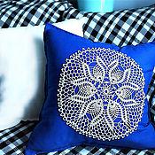 "Подушки ручной работы. Ярмарка Мастеров - ручная работа Чехол на подушку 50х50 см ""Кружева"" - 3 blue. Handmade."