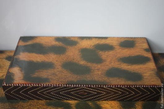 """Шкатулки ручной работы. Ярмарка Мастеров - ручная работа. Купить """"Леопард"""" шкатулка-купюрница. Handmade. Коричневый, дерево, матовый лак"""