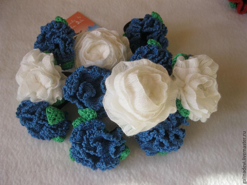 Детская бижутерия ручной работы. Ярмарка Мастеров - ручная работа. Купить РЕЗИНОЧКИ вязаные резинки и заколки для волос 'Белые розы'. Handmade.