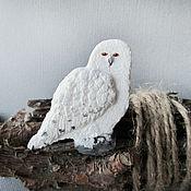 Украшения ручной работы. Ярмарка Мастеров - ручная работа Белая полярная сова брошь, брошка сова из полимерной глины. Handmade.
