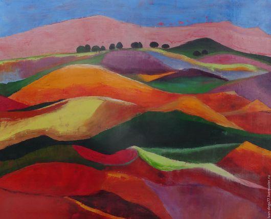 Пейзаж ручной работы. Ярмарка Мастеров - ручная работа. Купить Холмы. Handmade. Холмы, счастье, оранжевый, салатовый