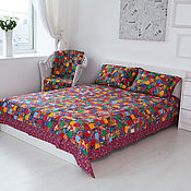 "Русский стиль handmade. Livemaster - original item Bedspread patchwork""Colorful""double. Handmade."
