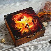 """Для дома и интерьера ручной работы. Ярмарка Мастеров - ручная работа Шкатулка """"Загадочная встреча"""", шкатулка для украшений. Handmade."""