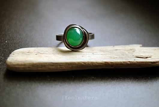 Кольца ручной работы. Ярмарка Мастеров - ручная работа. Купить Zen - серебряное кольцо с хризопразом (серебро 925). Handmade. Мятный
