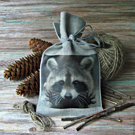 Подарочная упаковка ручной работы. Ярмарка Мастеров - ручная работа. Купить Льняной мешочек. Handmade. Темно-серый, лен, шишки