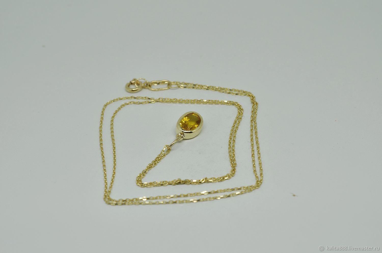 Кулон из  желтого золота с желтым сапфиром, Кулоны подвески, Москва, Фото №1