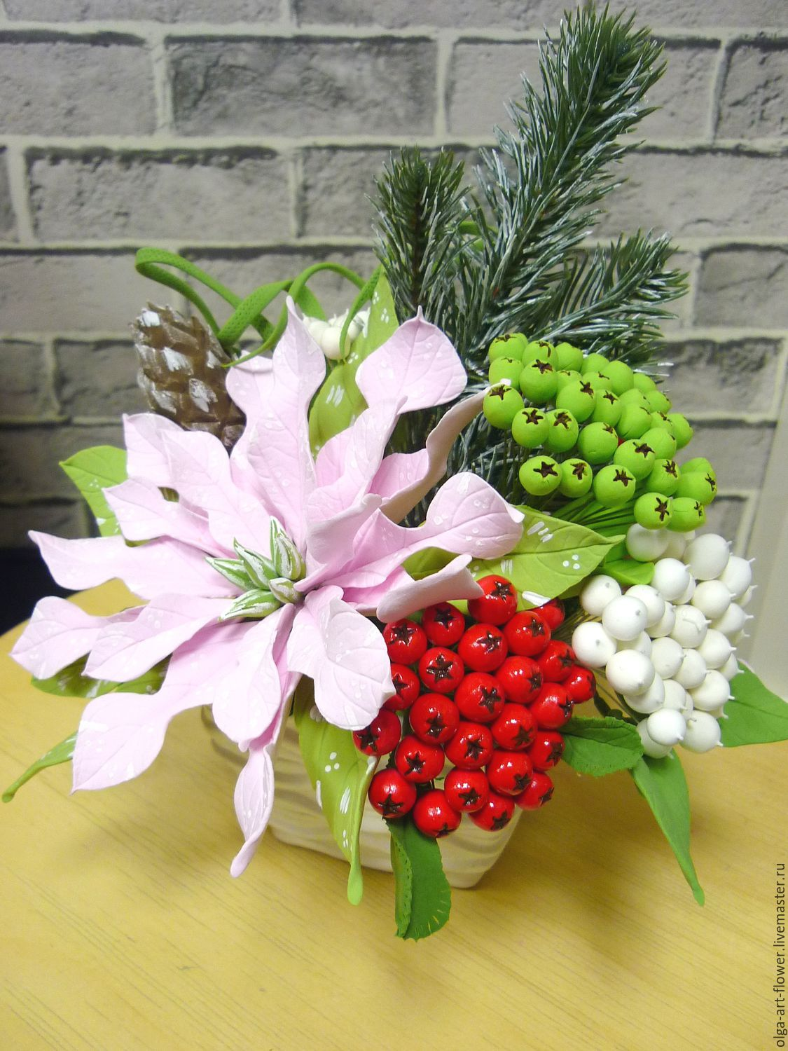 Composition with Poinsettia. Flowers polymer clay handmade, Composition, Moscow,  Фото №1